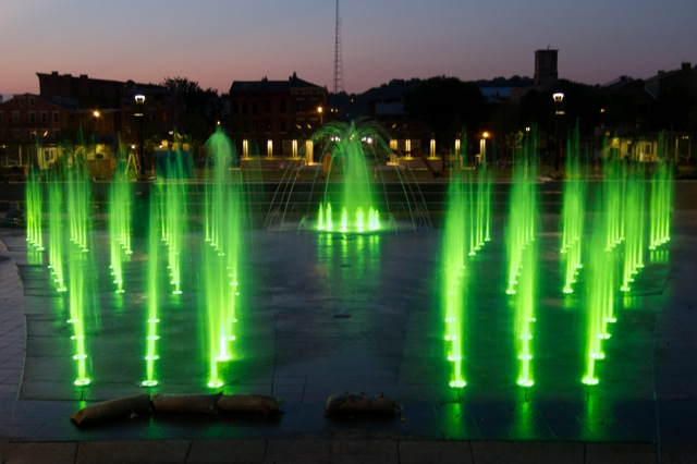 Washington Park Fountain Green Lights